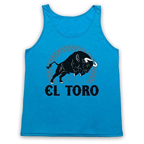 My Icon Art & Clothing EL Toro Spanish Bull Tank-Top Weste, Neon Blau, Large
