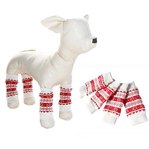 Sannysis Calcetines Largos para Perros Ropa Accesorio para Mascotas (Rojo, S)