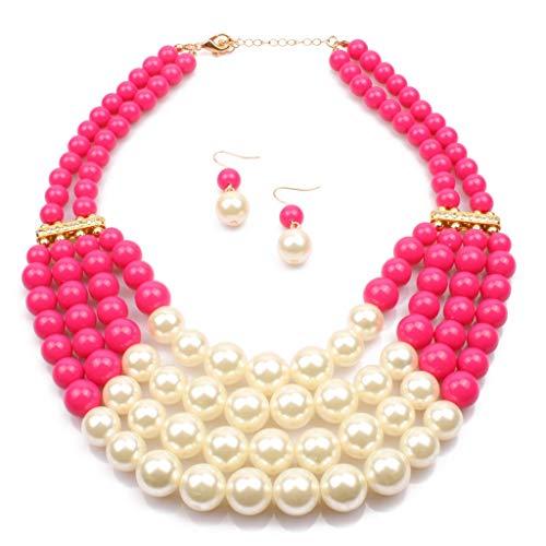 Mehrschichtige künstliche Perlenhalskette der Frauen, Mode-Fauxperlen-Schlüsselbein-Ketten-Partei-Zusätze mit Einem freien Paar künstlichen Perlenohrstecker 18 Zoll (Farbe : Rose rot) (Flapper Halskette Perle Der)