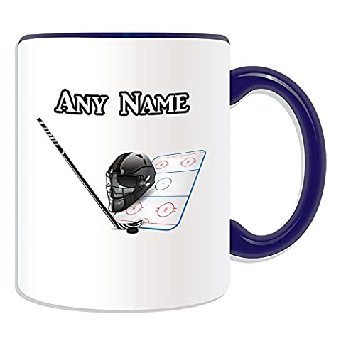 Cadeau personnalisé–Hockey sur glace Tasse (Thème Design Sport, Couleur)–N'importe Quel Nom/Message sur votre mug unique–NHL, Céramique, bleu
