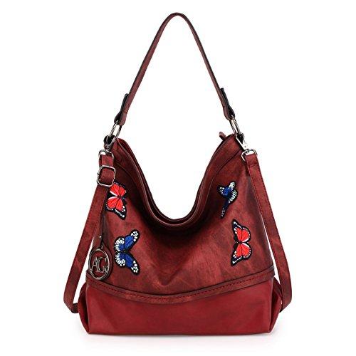 LeahWard Damenmode Mittlerer Schulter Handtaschen Weiche Zipper Faux Ledertaschen 00529 (Kaffee) Burgund Schmetterlings Tasche