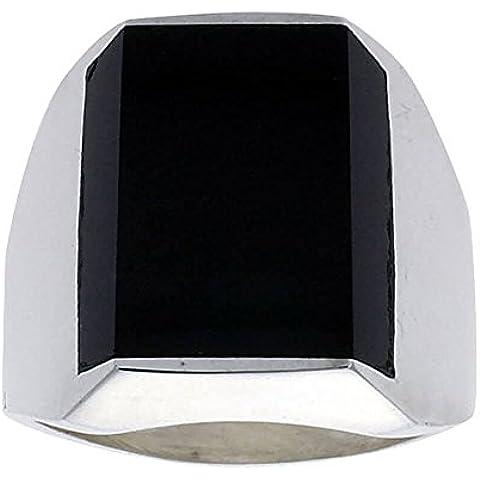 Da uomo con pietra rettangolare, argento Sterling, con anello, colore: nero ossidiana