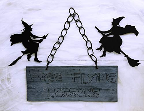 qidushop Halloween-Fliegender Unterricht, Halloween, Hexendekoration, Halloween, Foto-Requisite, Holz, verbranntes Schild, Hexenbesen, Deko, lustiges Zitat, für Damen und Herren