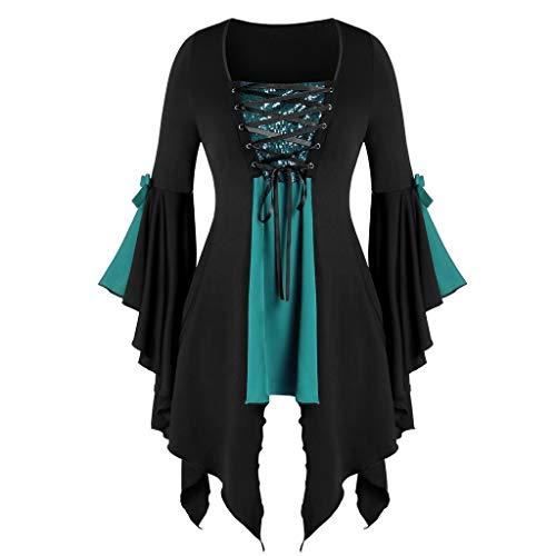 Kostüm Kadett Frauen - GOKOMO Halloween Damen Oversize Langarm Cosplay T-Shirt Oberteile Kapuzenpullover Shirt Transparent TüLl Mesh Bluse Body Tunika Tops(Grün-a,XX-Large)