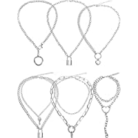 Hicarer 6 Pieces Lock Necklace Y Punk Pendant Chain Simple Heart Circle Pendant Necklace Lock Jewelry Multilayer Chain for Woman Man