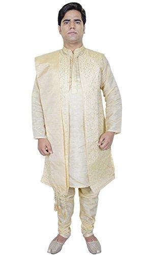 abbigliamento uomo 4 pezzi sherwani casuale kurta pigiama rubato usura del partito dimensioni d'oro l