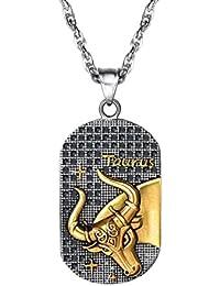 98b6b0dc9598 PROSTEEL Chaîne et Pendentif Plaque Militaire avec Signe Astrologique  Collier en Acier Plaqué Or Jaune Serte