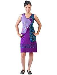 Robe sans manches Violet de femmes Avec colorés circulaire Broderie