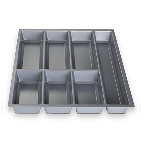 ORGA-BOX® III Besteckeinsatz Besteckkasten silbergrau für 50er Schublade z.B. Nobilia ab 2013 (473,5 x 394 mm) (3-schubladen-box)