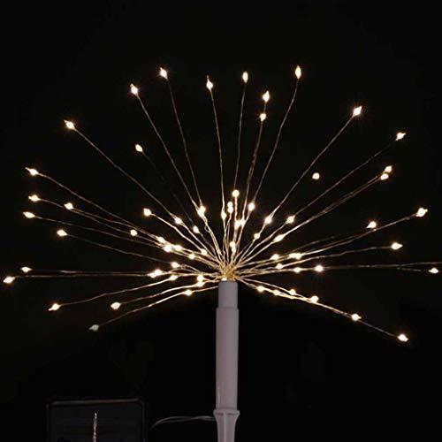 YOOQI Schnur-Lichter, Geführte Solarlicht-Schnur-Feuerwerks-Licht-Halloween, Imprägniern Garten-Dekoratives Im Freienlicht, Für Garten-Ausgangshochzeitsfest-Weihnachten Halloween,White