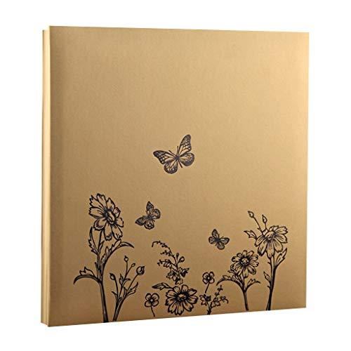 WJJJ Fotoalbum DIY Hand-Einfügen-Album (Schmetterlinge, Blumenmuster), 20 Blätter (40 Seiten) Weiße Seiten, Familien-Paaralbum, Home Storage Platzierte Fotos Tourism Love (Farbe: Gold) -