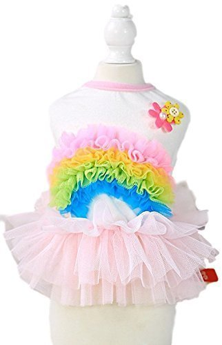 Fancy Me Haustier Mädchen Hund Katze Rainbow Pride Tutu Einhorn Karneval Kostüm Kleid Outfit XS-XL - Rosa, Small