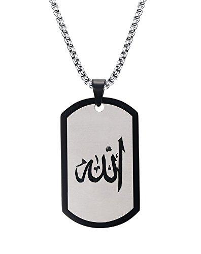 PMTIER Unisex Islam Allah Religiöse Edelstahl Pendnat Halskette mit Kette Schwarz