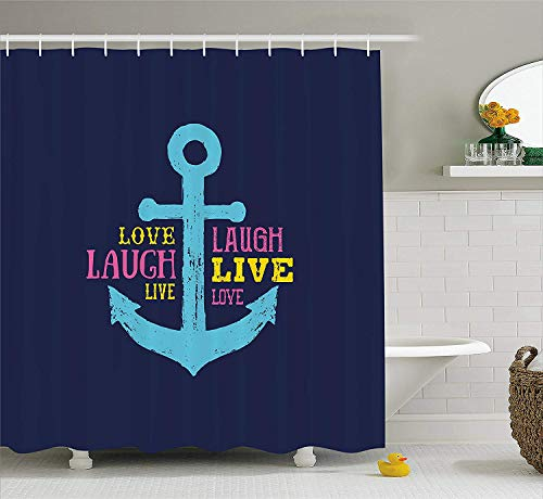 BUZRL Live Laugh Love Shower Curtain Memphis Style Nautical Inspirations With Hand Drawn Anchor And