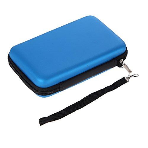 Demiawaking EVA Lagerung Reißverschluss Tasche mit Gurt Schutzhülle Abdeckungs Haut Gehäuse Deckel für Nintendo 3DS XL LL (Blau)