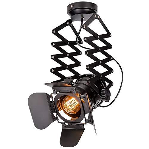 WSXXN Industriellen Stil Wandleuchte Einstellbare Metall Track Anhänger Beleuchtung Vintage Deckenstrahler Leuchte E27 Scheinwerferlicht Für Kaffee Bar Esszimmer
