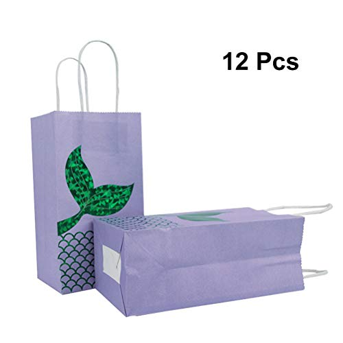Toyvian Papiergeschenk Taschen Meerjungfrau Schwanz Süßigkeiten Tasche Cartoon Party Pouch für Kinder Geburtstagspartys Hochzeit Dekoration Gefälligkeiten (Grün) 12 stücke