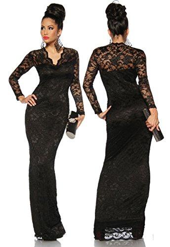 Robe longue de soirée sexy avec dentelle et col v a 13105–1 Noir - schwarz (Sw 16)