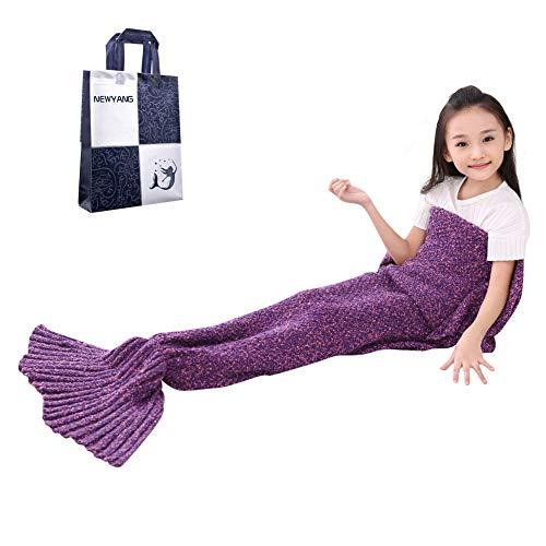 NEWYANG Meerjungfrau Flosse Decke Decke Meerjungfrau, Meerjungfrau Decke Rosa,Meerjungfrau Decke Kinder,Geschenke Für Mädchen,Spielzeug Für Mädchen, Kinder (Kid Thick Purple)