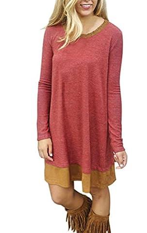 Damen Mode O-Ausschnitt Strickkleider Casual Schnüren Hem Langarm Stretchy Kleidung Bekleidung Oberteile Strick Pullover Kleider Pullover Tunika (XL,