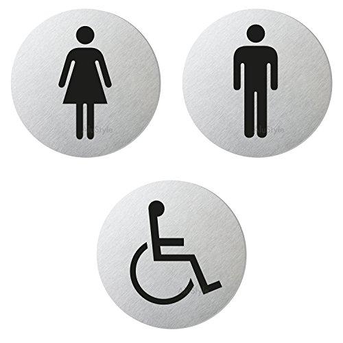 Ofform - Alustyle WC-Schild | Toilettenschild Türschilder | 3er-Set - WC Damen-Herren-Rollstuhl | Edelstahlschilder-Optik | Ø 75 mm | Sparversand | Nr. 6702-S