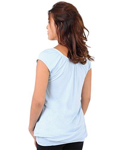 KRISP® Donne Basic Jersey Top Elastico Casual Fasciato Estato Maglietta Aqua