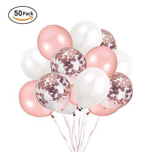 Ohighing 50 Stück Luftballons Rose Gold Konfetti Helium Ballons für Hochzeit Mädchen Kinder Geburtstag Party Deko (Rosegold + Weiß) 30cm (Rosen Und Ballons)