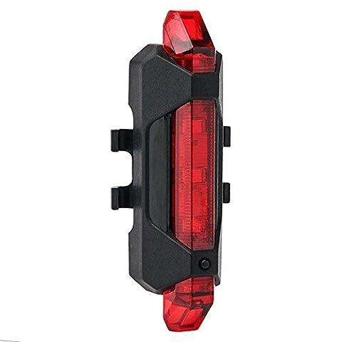LED Fahrradlampe Aufladbar,PUGO TOP Rücklicht Wasserdicht 5 LED USB Fahrradlicht, Hinter Licht Fahrradbeleuchtung Sport Beleuchtung (Rot) - Led Luce Posteriore Della Bicicletta