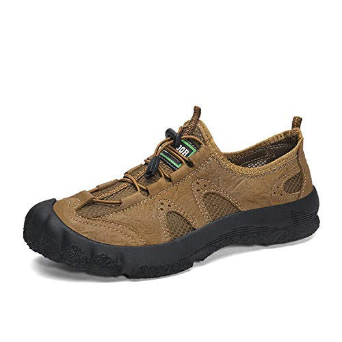 Mens Outdoor Shoes Mesh Breathable Slip on Flats Soft Leisure Sport Summer Vogue Light Brown US7.5