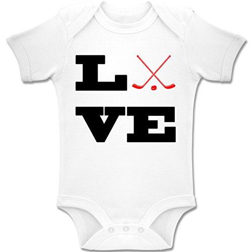 Sport Baby - Eishockey Love - 12-18 Monate - Weiß - BZ10 - Baby Body Kurzarm Jungen Mädchen