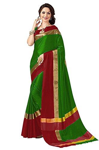 Perfectblue Cotton Silk Saree With Blouse Piece (Greenred_Free Size)