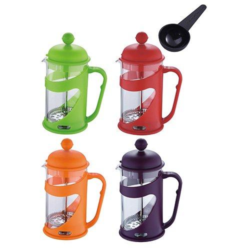 Renberg Presto Colours - Cafetera de embolo, 600 ml, cristal y acero inoxidable