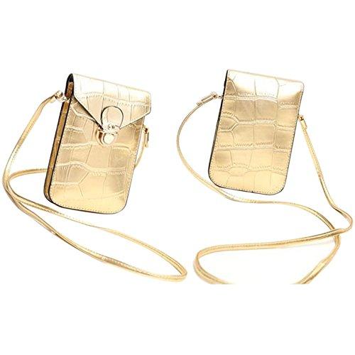 HeHe PU Leder Mini Handytasche Kleine Umhängetasche mit Vielen Fächern für Damen Mädchen Passt iPhone 7 Plus Gold