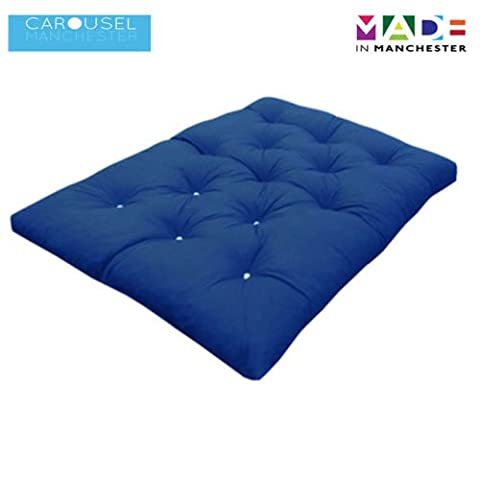 Double   2 Seater   Memory Foam Futon Mattress   Roll Out Bed   Guest Bed   Dark Blue   190cm x 125cm   UK Manufactured   9 Colours Available   3 Sizes Available