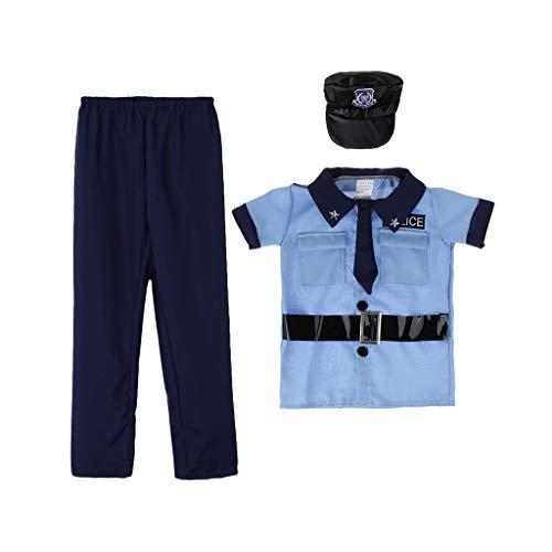 Baoblaze Jungen Mädchen Kinder Kostüm Halloween Polizei Dress Up Polizei-Kostüm Set mit Hemd, Hose, Mütze, Krawatte - M (Mädchen Polizei Kostüme)