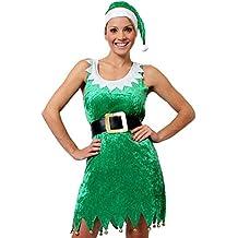 09d46d324e3b0 ILOVEFANCYDRESS Déguisement Tenue Sexy d Elfe avec Cette Jupe Verte  Sensation Velour + Un Bonnet