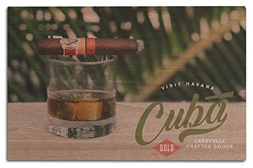 Laterne Press Cuba – Besuch Havana – kubanische Zigarre (Holzschild, Wanddekoration, fertig zum...