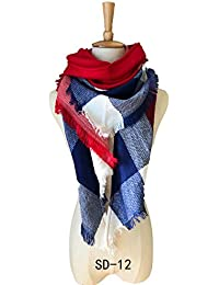 HITSAN INCORPORATION Winter Triangle Scarf For Women Plaid Scarf Ladies  Wraps and Shawls Scarves Blanket Warm Pashmina… a1eb32b39b2