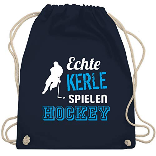 Eishockey - Echte Kerle spielen Hockey - Unisize - Navy Blau - WM110 - Turnbeutel & Gym Bag