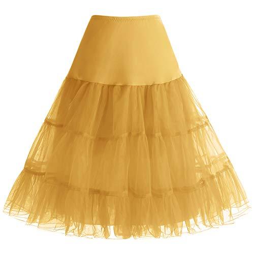 bbonlinedress Organza 50s Vintage Rockabilly Petticoat Underskirt Gold - Organza Tutu Kostüm