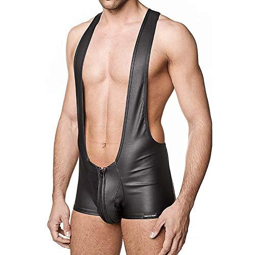 LHKAVE Erótico Faux Leather Zipper Front Pole Negro Trajes Atractivos de los  Hombres Ropa Interior Gay aaae9d1bc912