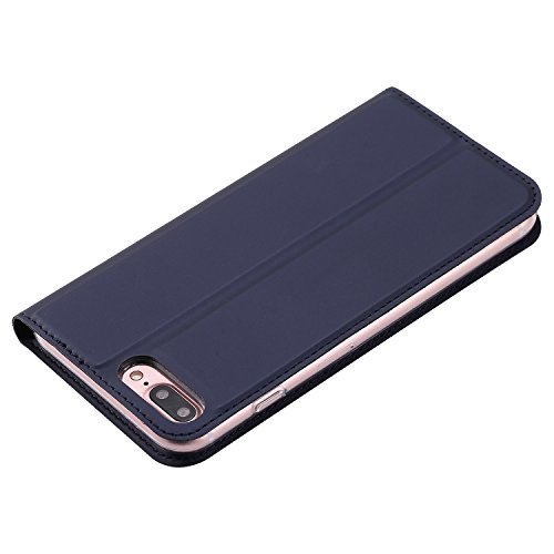JIALUN-Telefon Fall Solid Color Uni Texture PU Ledertasche Magnetische Verschluss Stil Stand Case Cover mit Kartensteckplatz für iPhone 7 Plus ( Color : Purple ) Blue