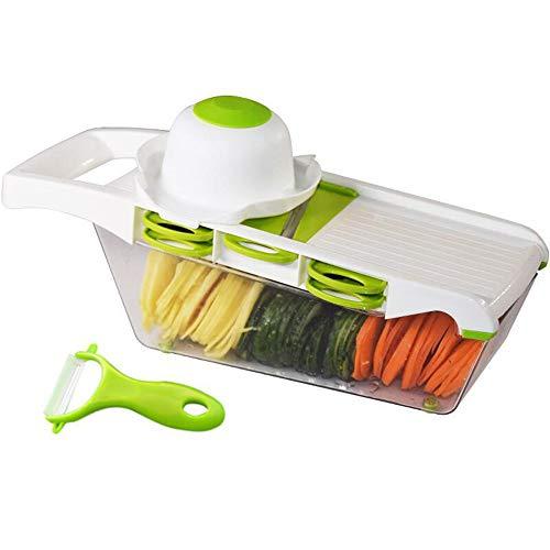 XFCF Multifunktionsreibe Gemüse Schneidwerkzeug Obstsalat Shredder Mit Aufbewahrungsbox Handschutz Grün