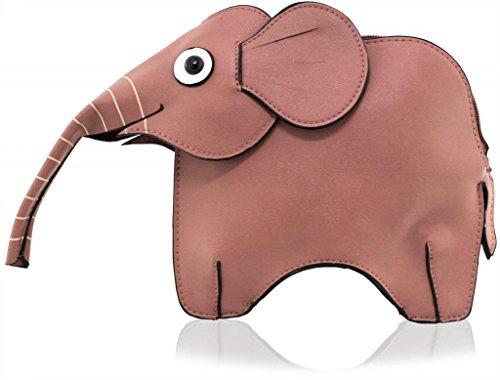 Kukubird Animal Elephant Shape Faux Leather Handbag PINK