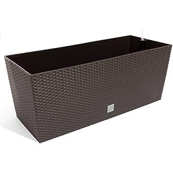 30 l pflanzk bel blumentopf blumenbank in rattan optik bew sserungssystem rato serie braun. Black Bedroom Furniture Sets. Home Design Ideas
