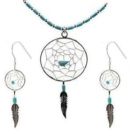 Argent Sterling Imitation Turquoise Attrape Rêves Minuscules Pendentif Boucles d'oreilles Collier Parure Chaîne 46cm