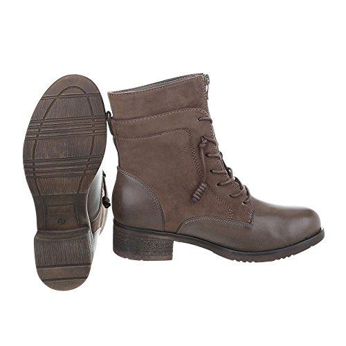 Schnürstiefeletten Damenschuhe Schnürstiefeletten Blockabsatz Schnürer Reißverschluss Ital-Design Stiefeletten Braun