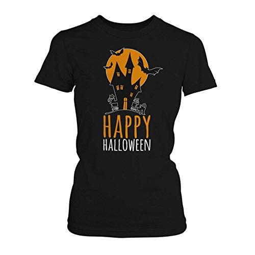 Happy Halloween - Damen T-Shirt von Fashionalarm | Spaß & Fun Shirt mit Spruch | Hexenhaus mit Mond Fledermaus Katze | Kostüm Verkleidung Trick Or Treat Süßes Saures Horror Oktober Reformationstag, Farbe:schwarz;Größe:XS