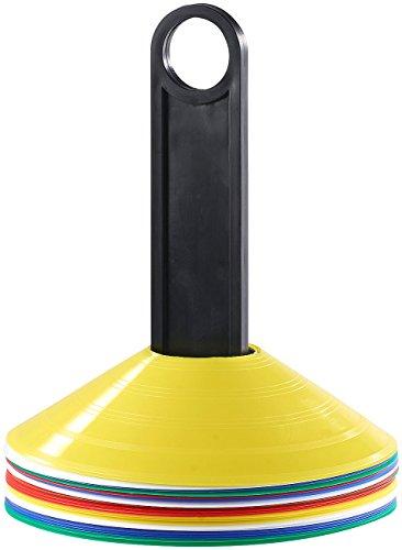 PEARL sports Sport Pylon: Belastbare Markierungshütchen mit Trage-Ständer, 5 Farben, 25 Stück (Kegel für Fußball und Koordinations Training)