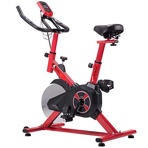 KUOKEL K601 - Indoor Cycling Bike Exercise Bike mit 10kg Schwungrad (Spinning Bike, Hometrainer, Gepolsterter Armauflage, Komfortsattel, ruhiges Reiten Pulsmessung bis 90kg) (Rot)